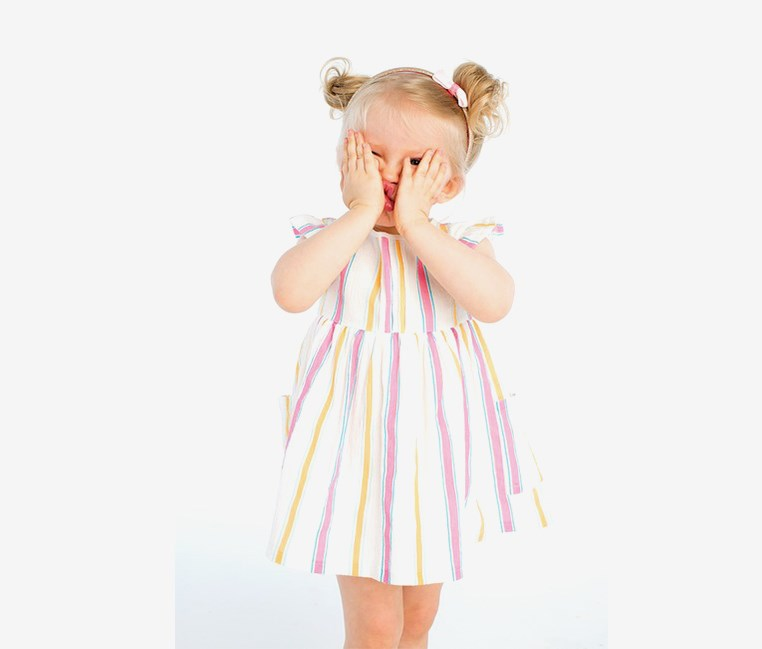 Toddlers Girl's Stripe Dress, White/Pink