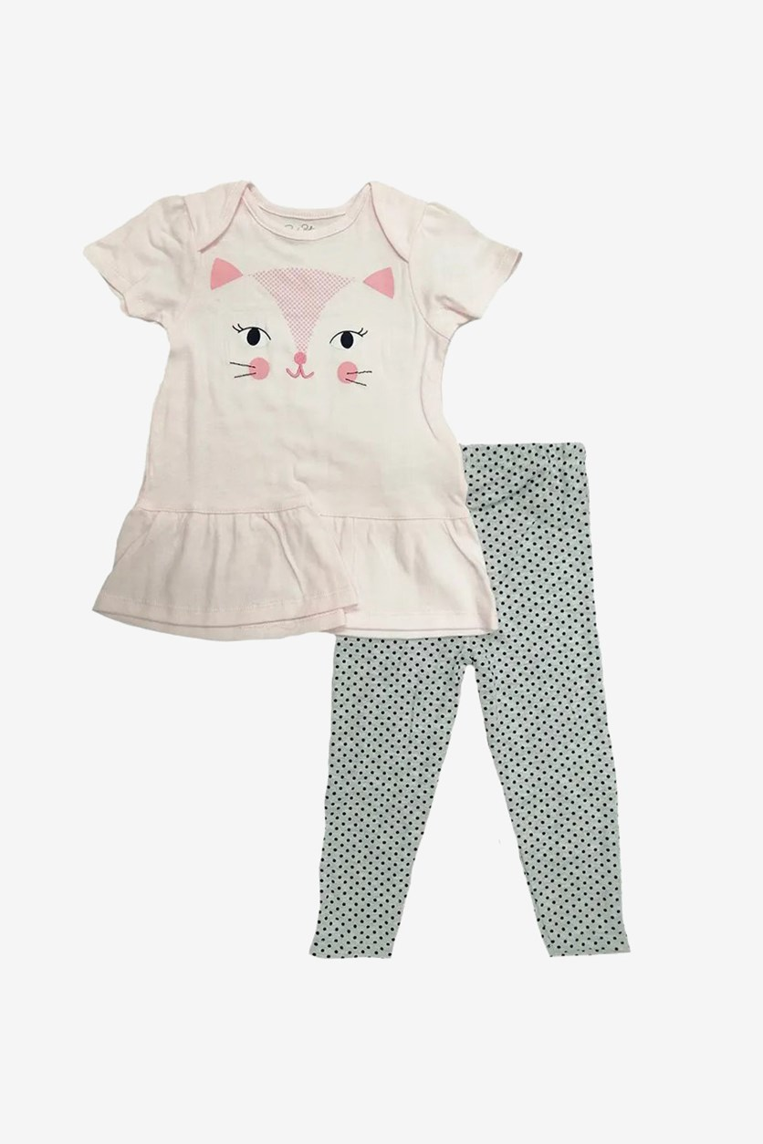 Baby Girl Dress & Legging Set, Pink/Grey