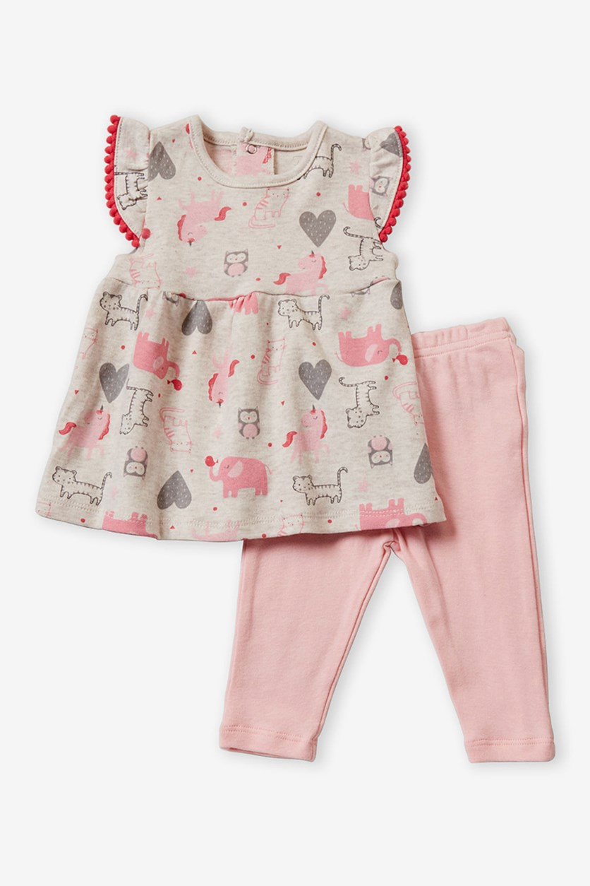 Two-Piece Animal Dress & Leggings Set, Grey/Pink