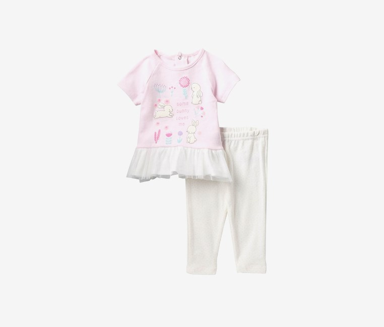 Toddlers Some Bunny Loves Me Dress & Leggings Set, Pink/White