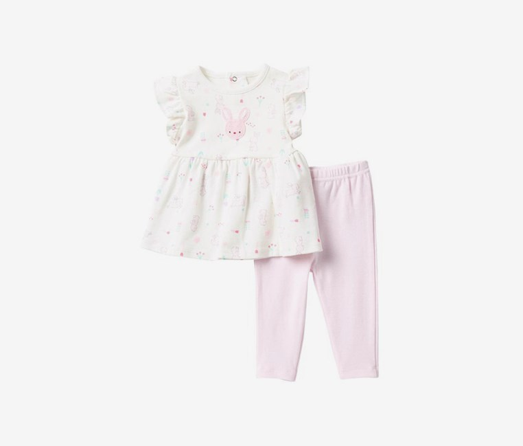 Toddlers Some Bunny Loves Me Dress & Leggings Set, Ivory/Light Pink