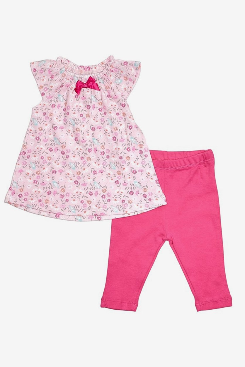 Toddlers Floral Top and Pants Set, Pink/Fuchsia Combo