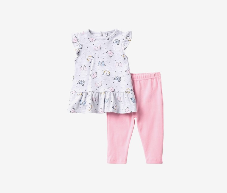 Toddlers Butterfly Dress & Leggings Set, Pink/Grey