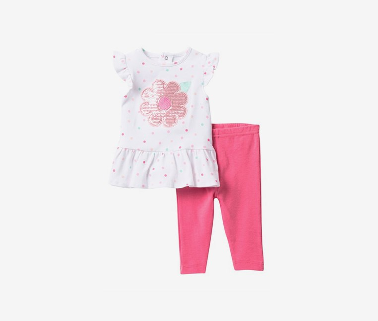 Baby Girls Sequin Flower Dress & Leggings Set, White/Pink