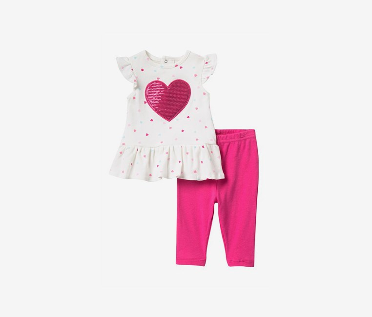 Sequin Heart Dress & Leggings Set, White/Pink