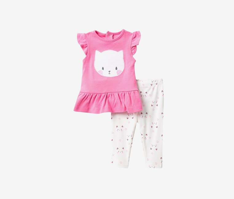 Toddlers Sequin Cat Dress & Leggings Set, Pink/White