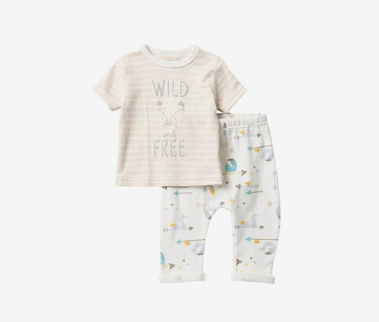 Toodlers  Fox T-Shirt & Pants Set, Oatmeal/Ivory Combo
