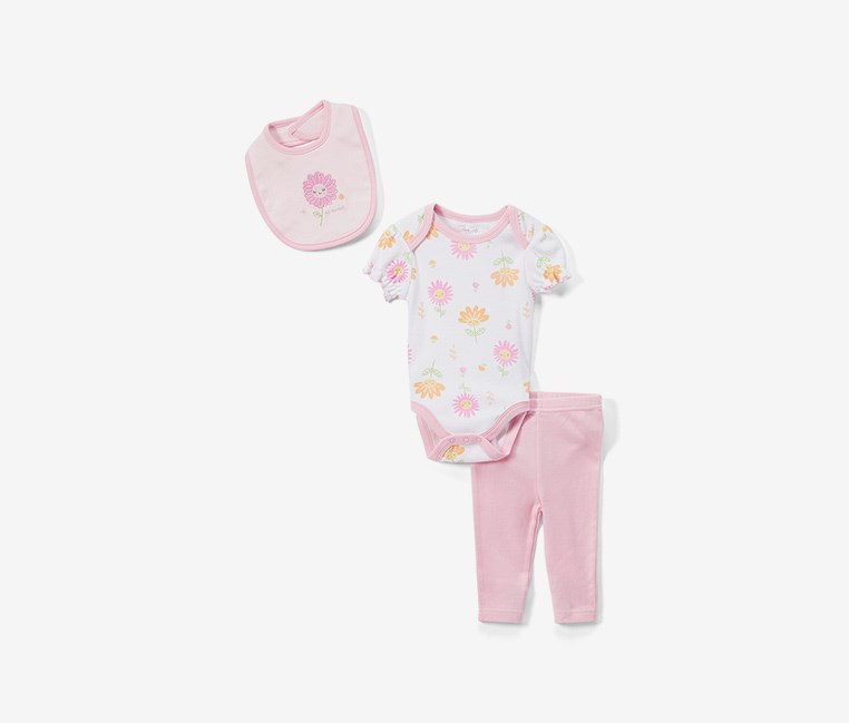 Toddler's 'So Sweet' Bodysuit Set, Pink/White