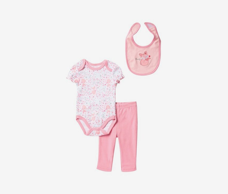 Toddlers Fox Bodysuit, Pant, & Bib Set, Pink/Whiten Combo