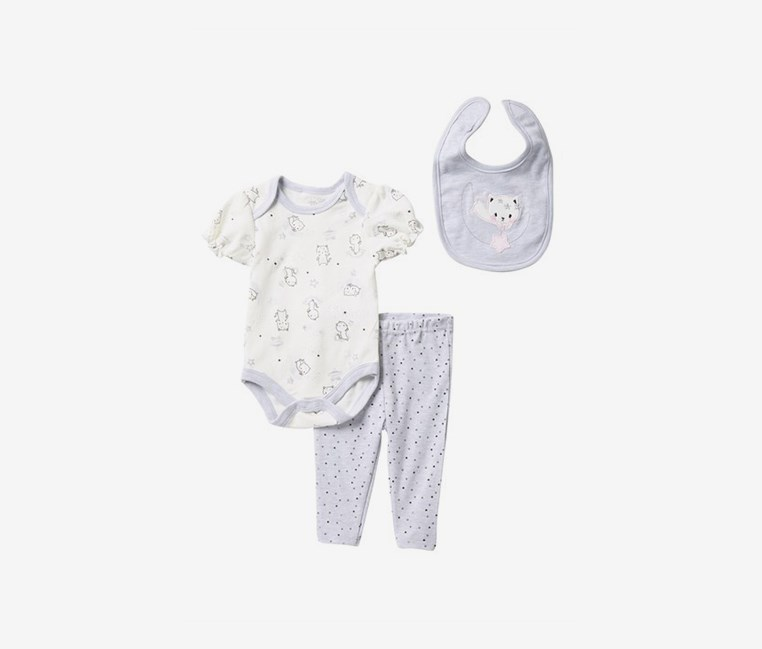 Toddlers Kitten Moon Bodysuit, Leggings, & Bib Set, Grey/Ivory Combo