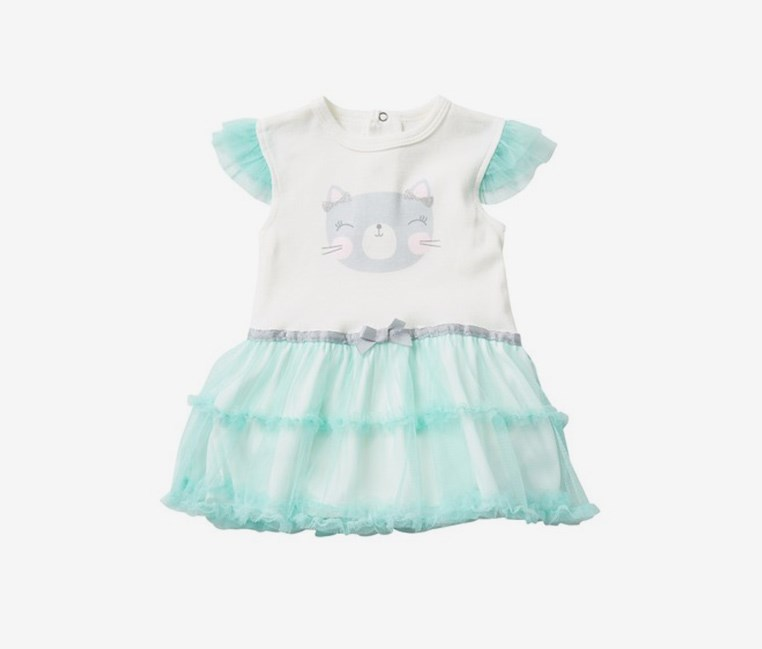 Toddler Girl's Kitten Tutu Bodysuit, Mint