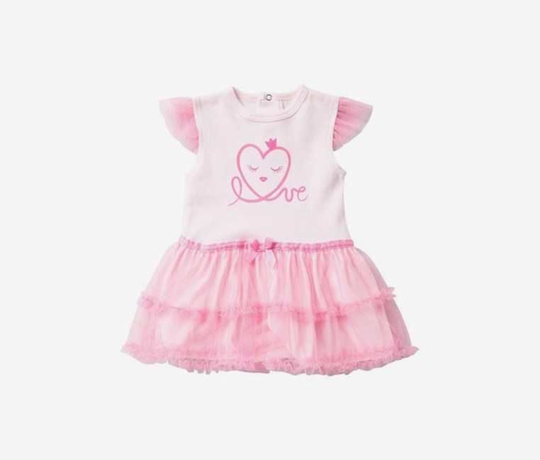 Toddlers Love Heart Tutu Bodysuit, Pink