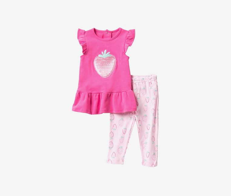 Sequin Strawberry Dress & Leggings Set, Pink