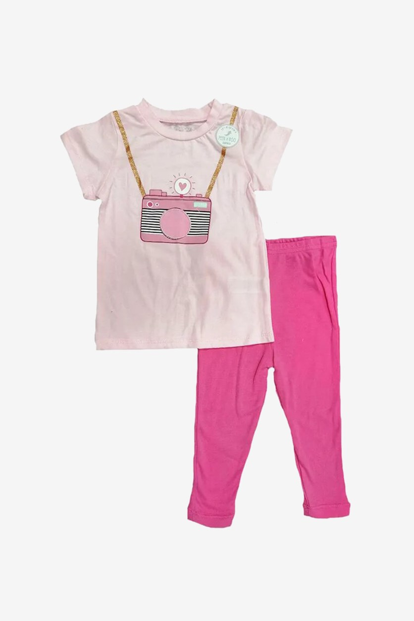 Baby Girl's Camera Print Tops & Leggings Set, Pink