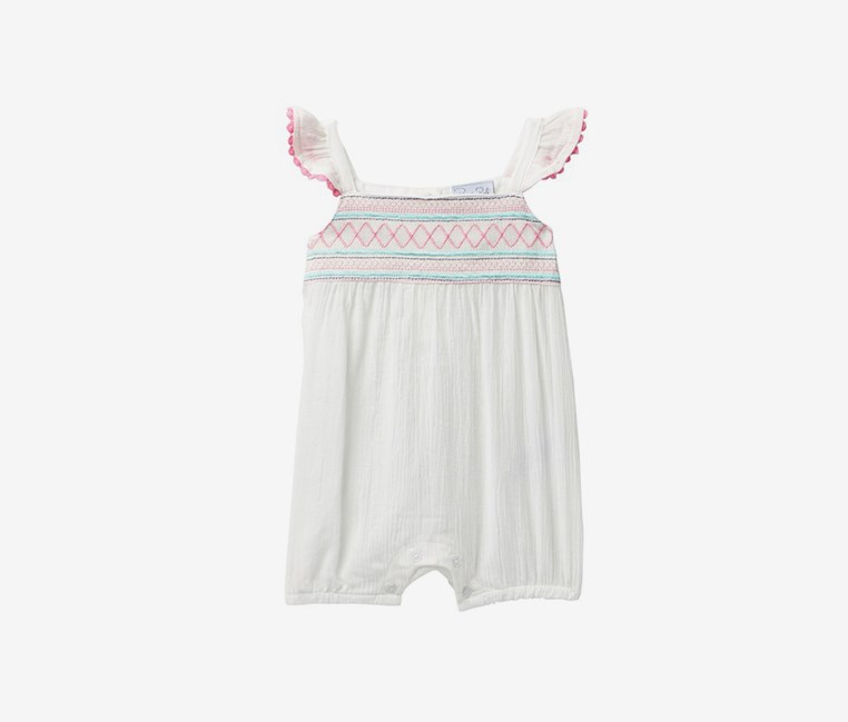 Crinkle Gauze Embroidered Yoke Romper, White