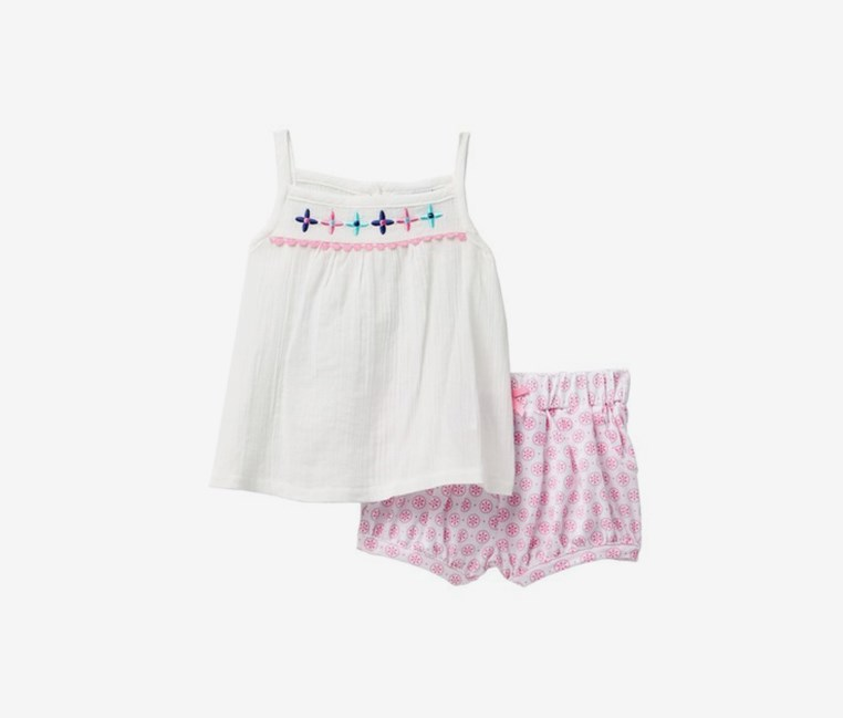 Toodlers Crinkle Gauze Embroidered Tank & Shorts Set, White/Pink Combo