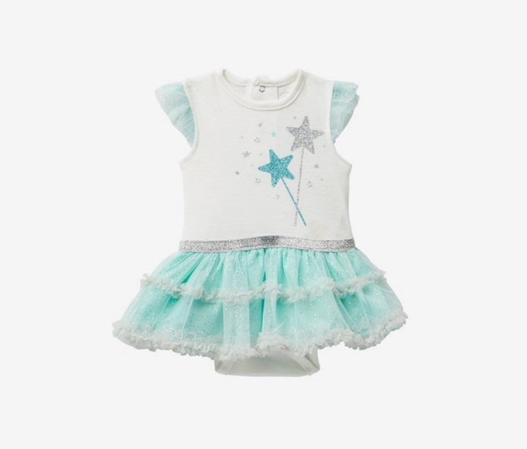 Toddlers Star Wands Tutu Bodysuit, White/Turquoise