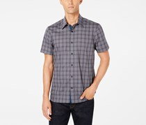 Ryan Seacrest Distinction Men's Plaid Shirt, Drark Grey