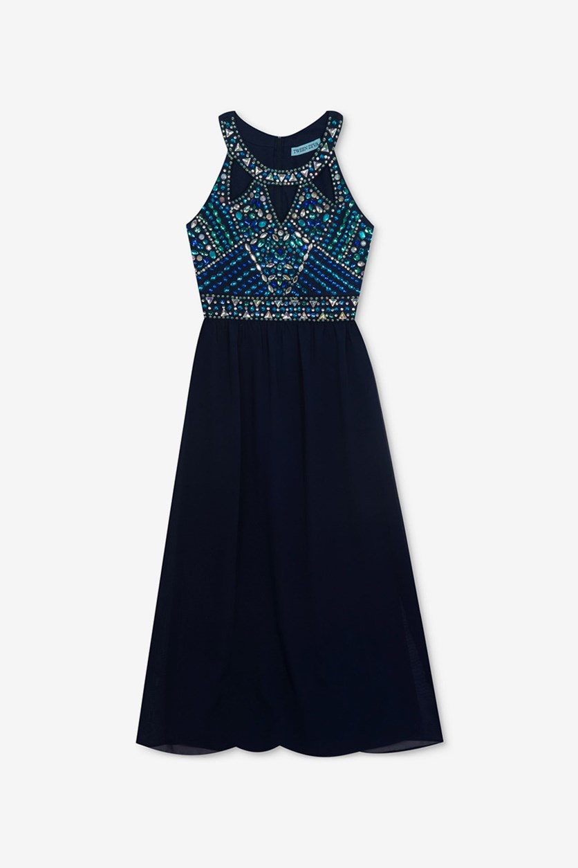Big Girls Embellished Maxi Dress, Navy