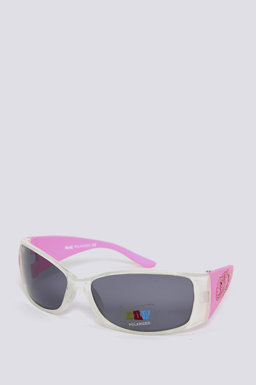 Kids SS08 Polarized Sunglasses, White/Pink