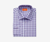 Tallia Men's Fitted Purple End-on-end Check Dress Shirt, Purple