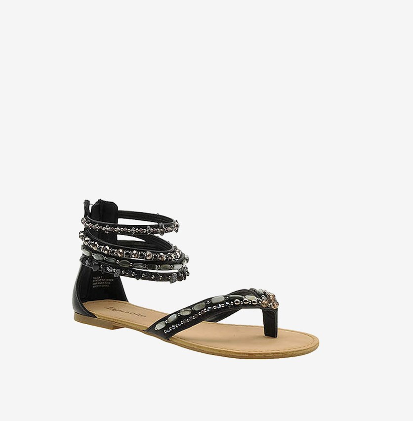Talisa Ankle Strap Flat Sandals, Black