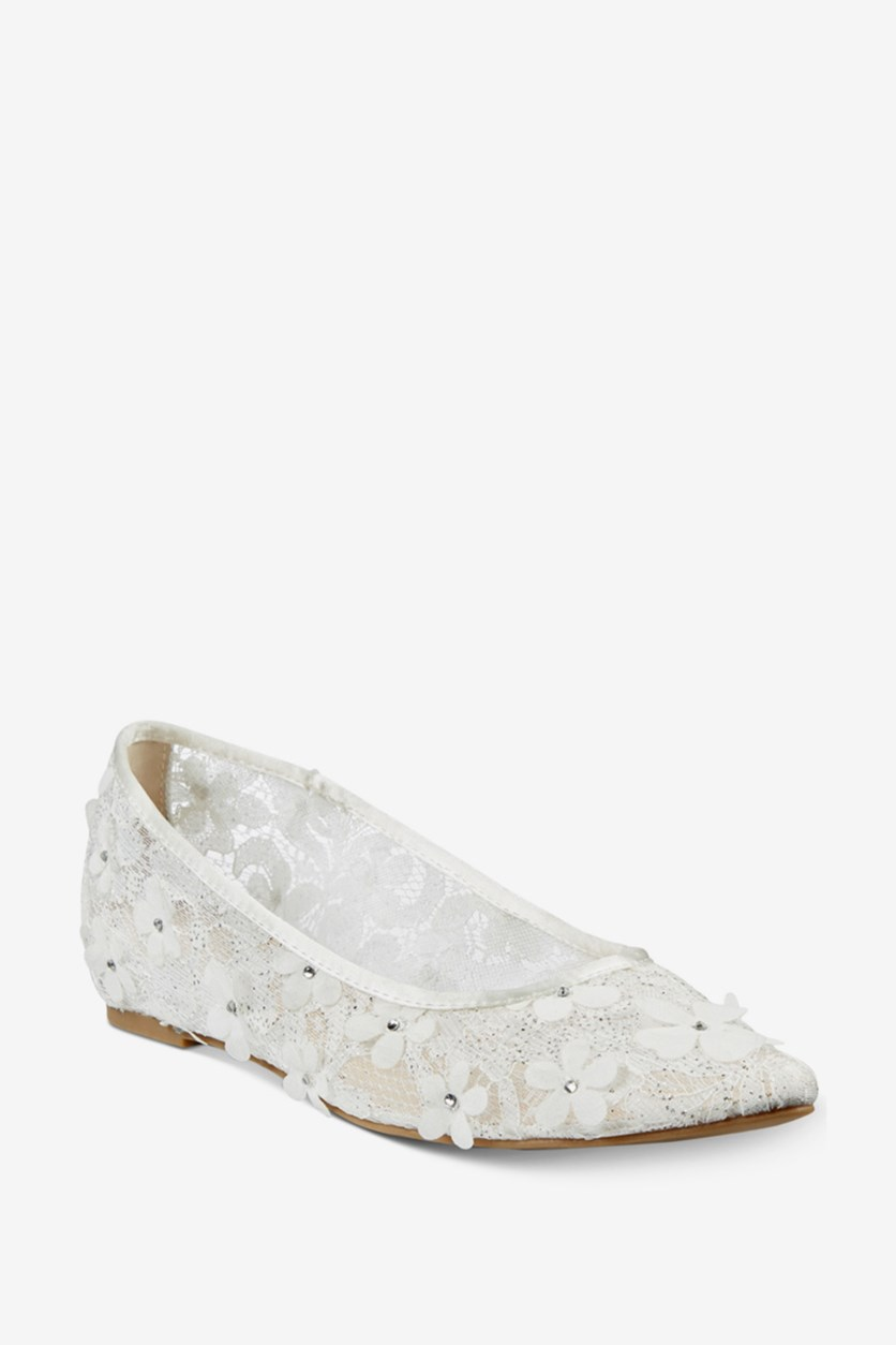 Tonina Pointed-Toe Flats, White