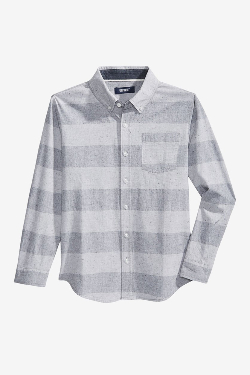 Kid's Boys Streamline Striped Cotton Shirt, Grey