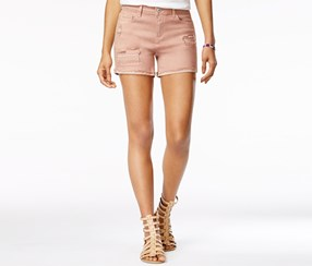 Vanilla Star Women's Ripped Cuffed Denim Shorts, Pink