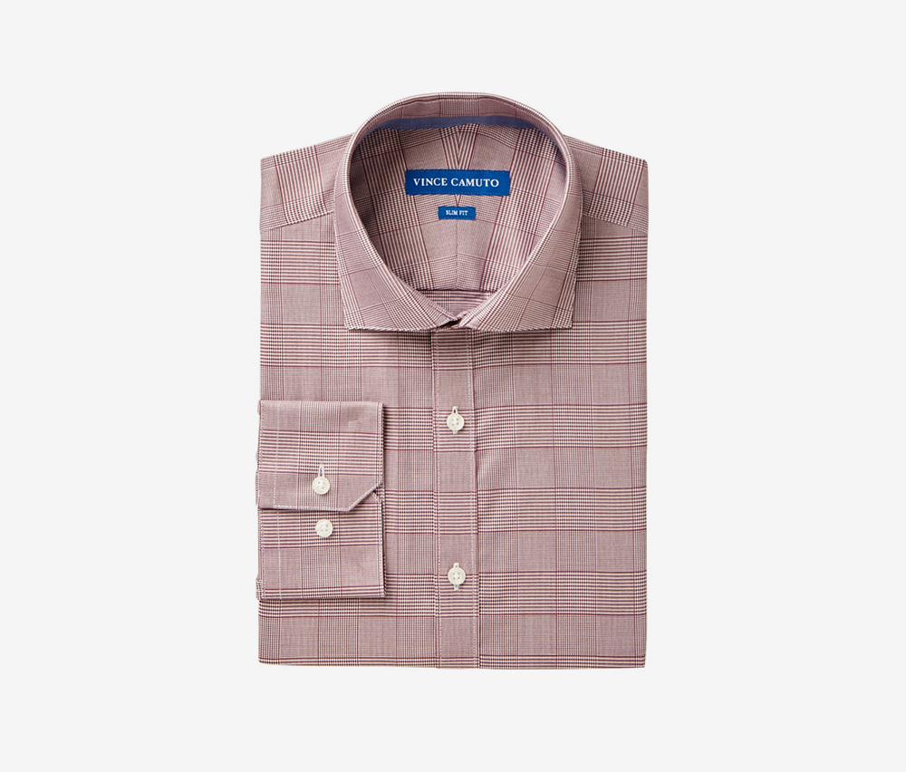 Vince Camuto Mens Slim Fit Stretch Glen Plaid Dress Shirt with Comfort Collar