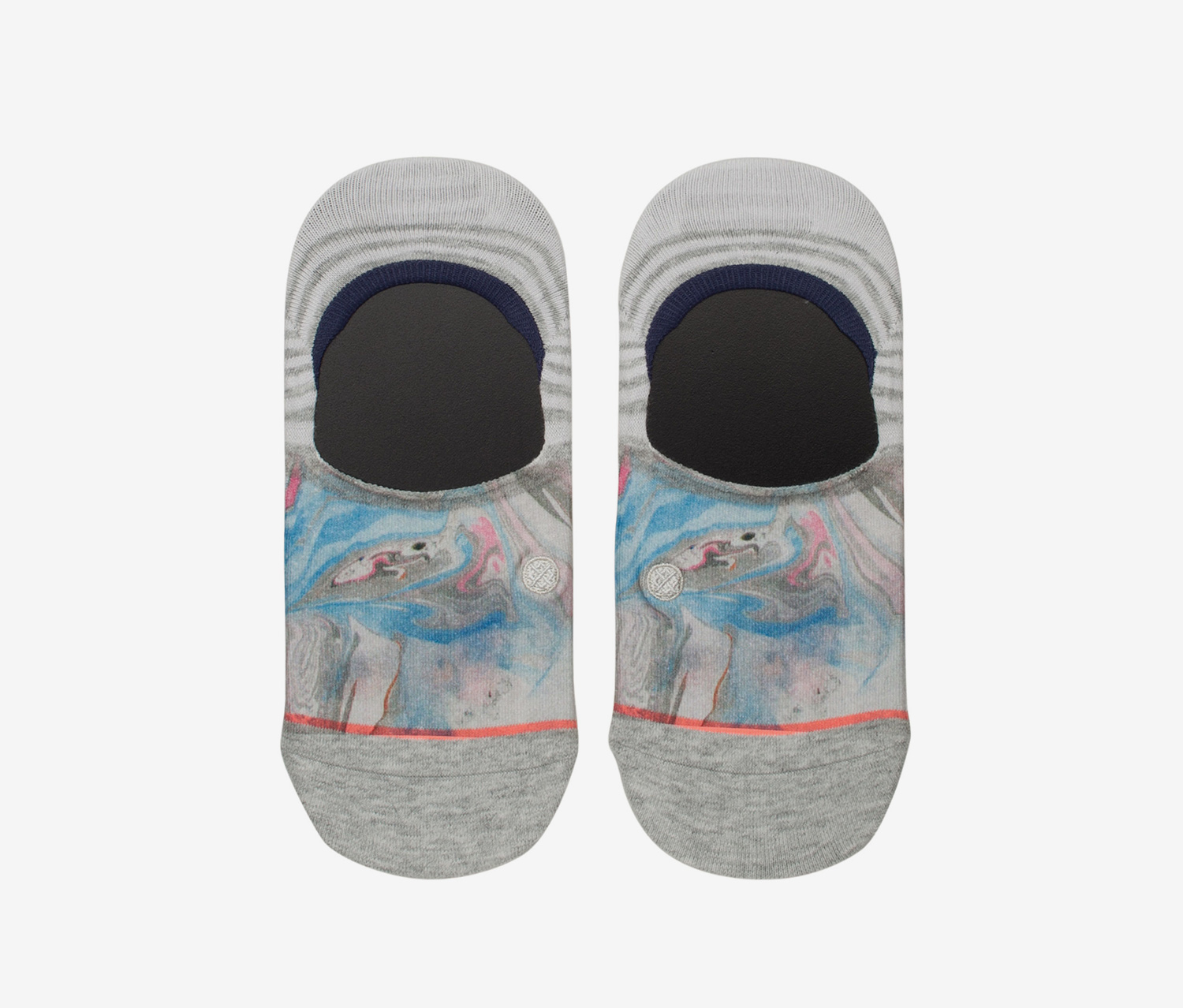 Women's Blue Marble Socks, Grey