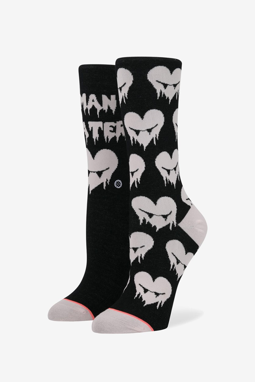 Women's Hangry Socks, Black/Pink