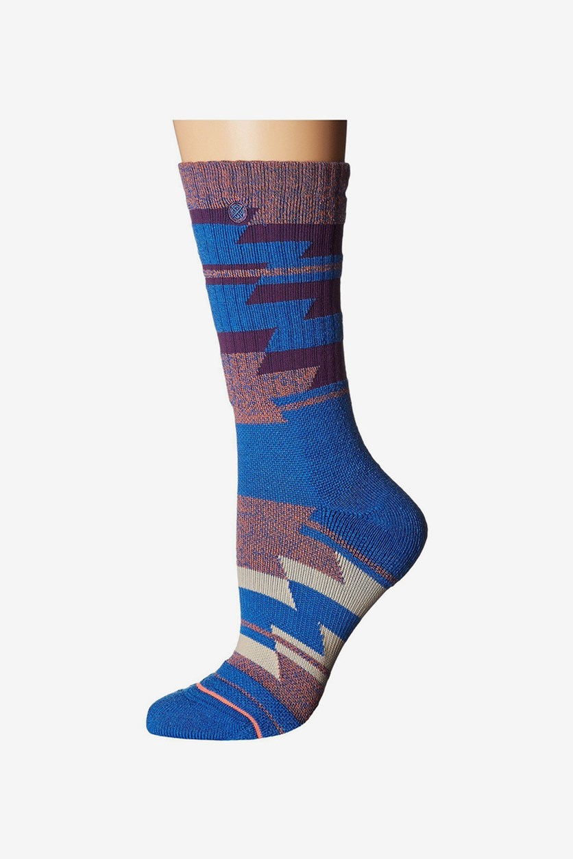 Women's Bezel Outdoor Crew Socks, Blue Combo