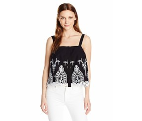 GUESS Women's Sleeveless Genevive Embroidered Top, Black