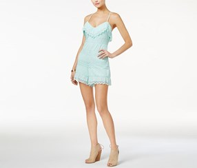 Guess Vita Mixed-Lace Ruffled Romper, Lime Green