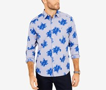 Nautica Men's Classic Fit Floral Striped Casual Shirt, Blue