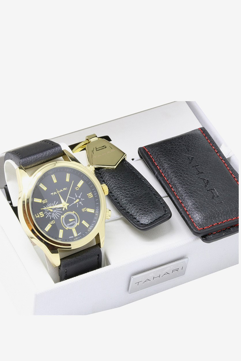 Men's Watch and Keychain Set, Black/Gold
