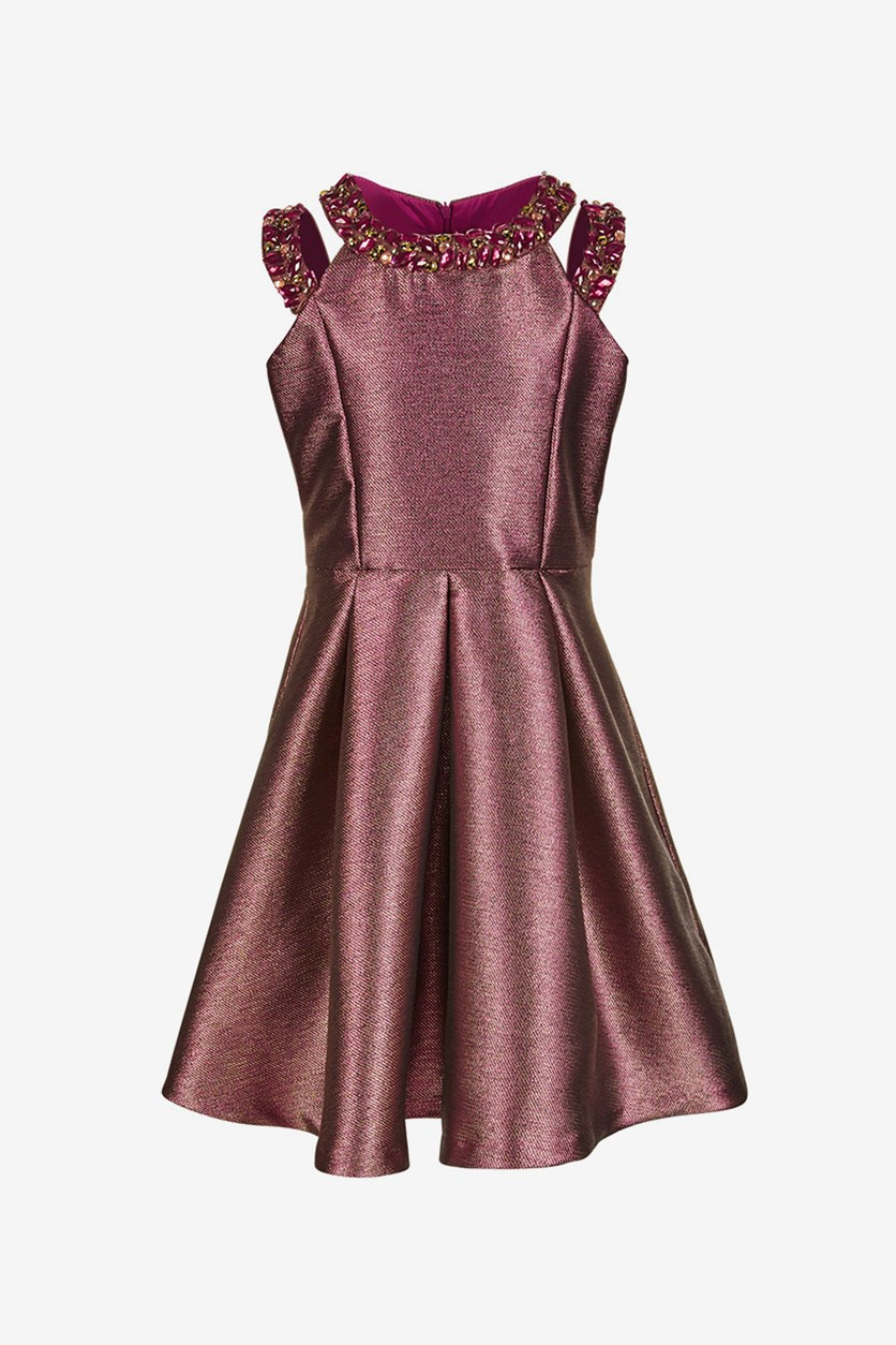 Big Girls Beaded Metallic Dress, Burgundy