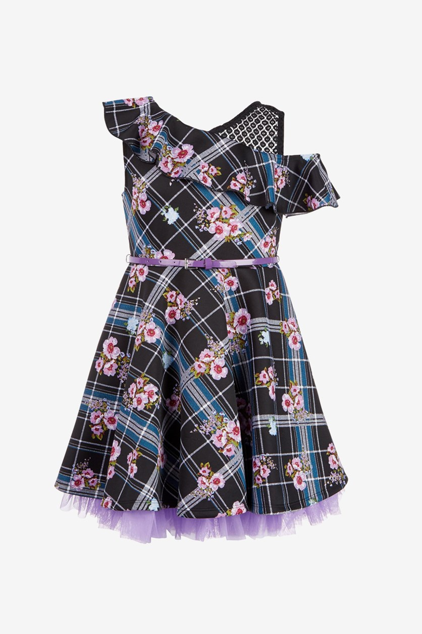 Big Girls Plus 2-Pc. Floral-Print Plaid Skater Dress & Bow Set, Black Combo