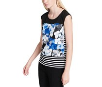 Calvin Klein Women's Printed Sleeveless Casual Top, Blue/Black/White