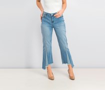 Women's Colorblock Inset Cropped Flared Jeans, Blue Wash