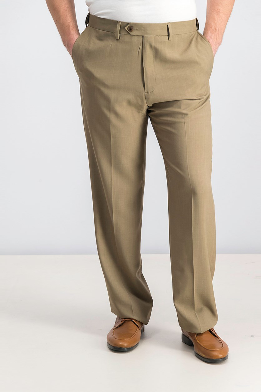 Men's Repreve Stria Flat-Front Dress Pants, Taupe