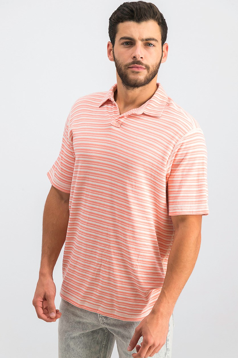 Men's Flip Stripe Polo, Sea Dragon