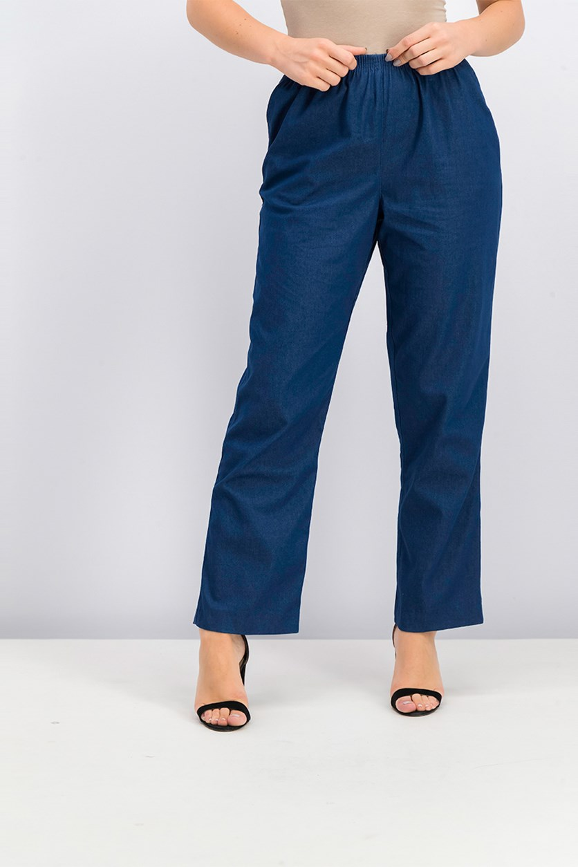Denim Pull On Straight Pants, Blue Denim
