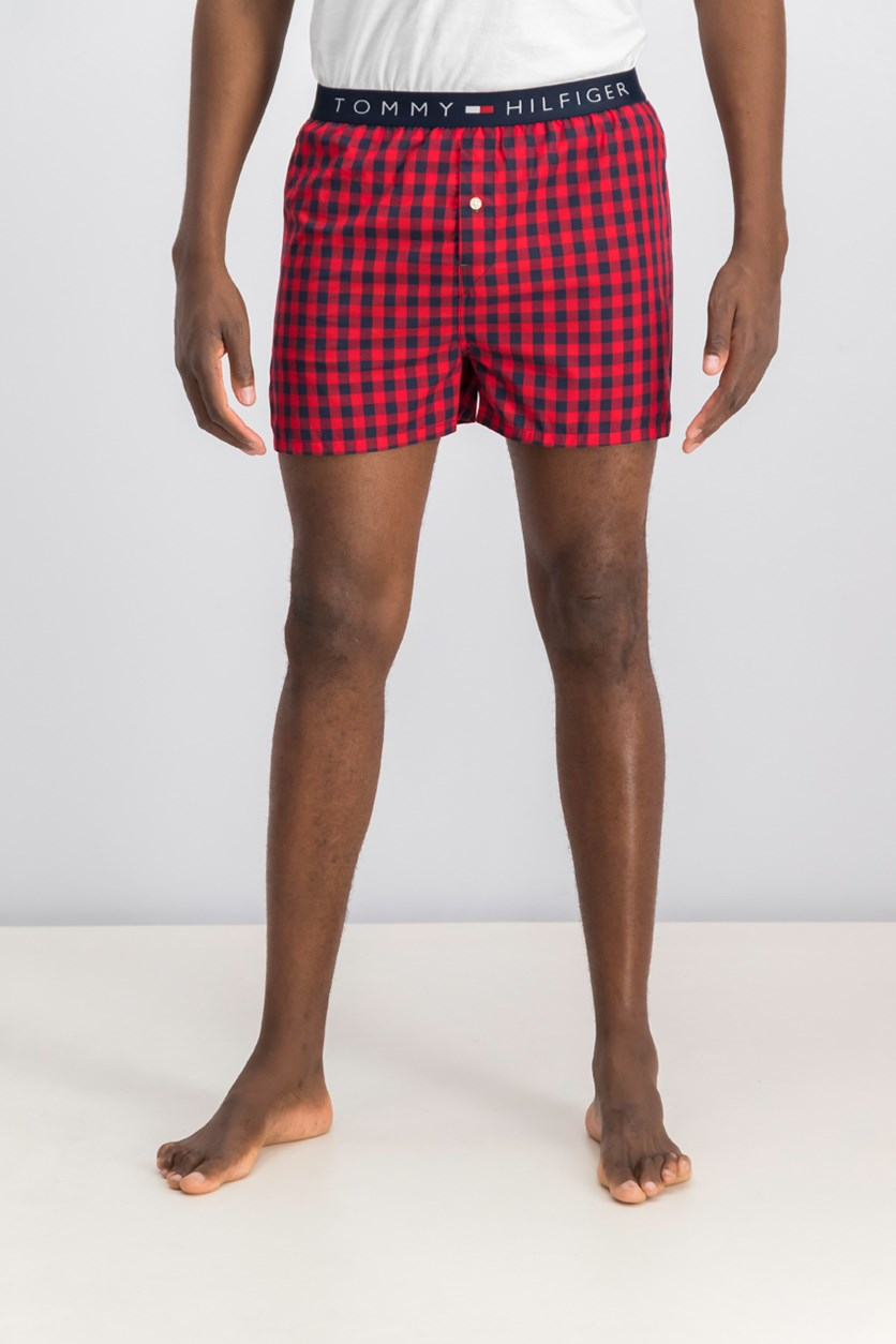 Men's Plaid Boxer Short, Brick