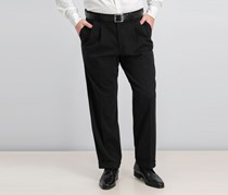 Comfort Khaki Relaxed-Fit Pleated Pants, Black