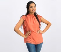 1.state Smocked Flutter-Sleeve Top, Desert Rose