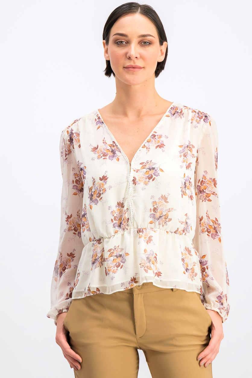 Women's Long Sleeve Wildflower V-Neck Blouse, Soft Ecru