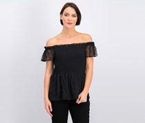 Womens Smocked Off The Shoulder Short Sleeve Top, Black