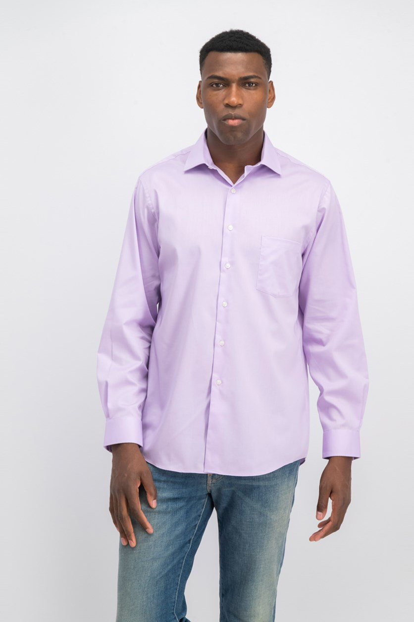 Men's Regular Fit Stretch Solid Dress Shirt, Lilac